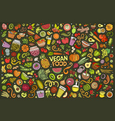 set of vegan food objects and symbols vector image