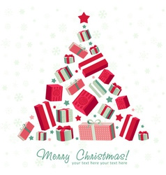 Shape christmas tree made gift boxes vector