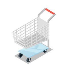 Shopping trolley cart isometric 3d icon vector