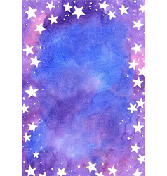 Star on fairy tale sky watercolor frame vector