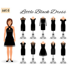 stylish woman model character in little black vector image