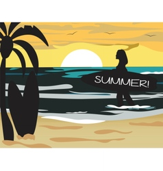 Summer Beach with surfer silhouette vector