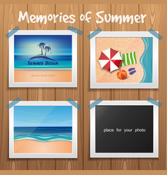 summer design wooden board with summer photos vector image