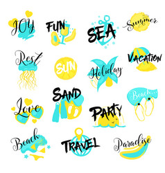 Summer vacations hand drawn logo set sea holidays vector