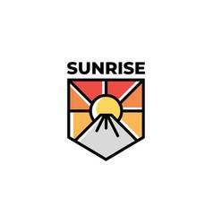 sunrise with mountain logo design vec vector image