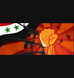 Syria war propaganda hand fist strike with arm vector