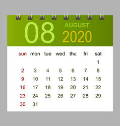 template calendar for august 2020 week starts vector image