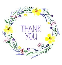 Thank you card with watercolor floral bouquet vector