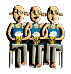 Three drinking hairless men sitting on a wooden vector image