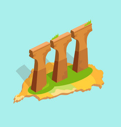 three stone or concrete supports in taiwan flat vector image
