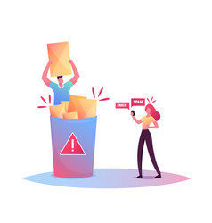 Tiny male character sitting in huge litter bin vector