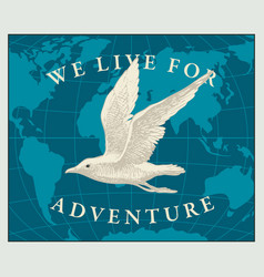 Travel banner with seagull and world map vector