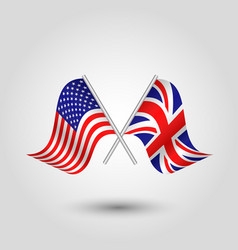 Two crossed american and british flags vector