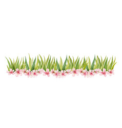 watercolor banner with green grass and vector image