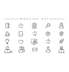 Working day concept line style icons set vector