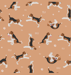 Yoga dogs poses and exercises beagle seamless vector