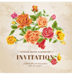 Floral Roses Vintage Card vector image vector image