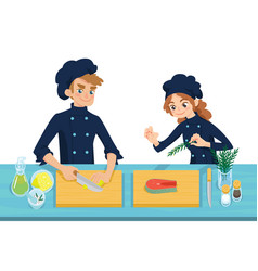 happy young cooks boy slicing lemon and girl vector image vector image