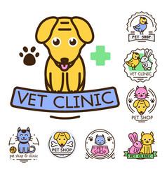 pet badge graphic sticker set domestic vector image