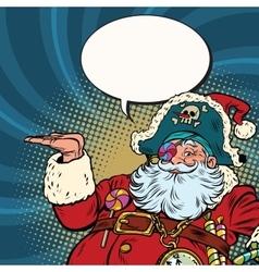Santa Claus pirate presentation gesture vector image