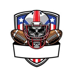 skull wearing american football helmet vector image