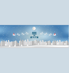 wide angle view town background christmas with vector image