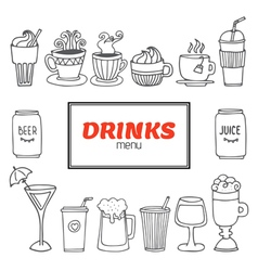 Drinks and beverages hand drawn set Drinks menu vector image