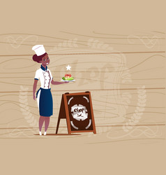 female african american chef cook holding with vector image vector image