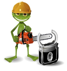 Frog and padlock vector image vector image