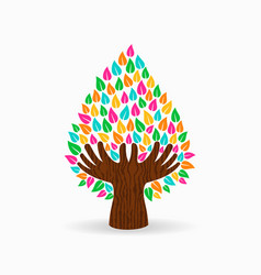 human hand color tree concept for social help vector image vector image