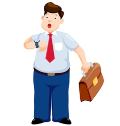 Business man is late watching time vector image