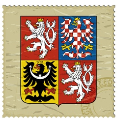 Coat of arms of Czech Republic on postage stamp vector image vector image