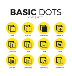 copy flat icons set vector image