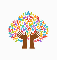 human hand tree concept for community help vector image