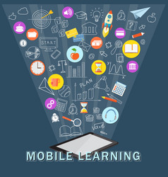 mobile learning with tablet vector image