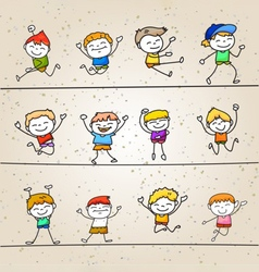 set of hand drawing cartoons concept happy boys vector image