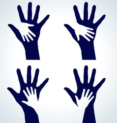 set of hands silhouette vector image vector image