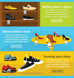shoes fasion banner horizontal set flat style vector image vector image