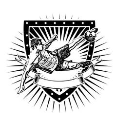 soccer shield 2 vector image vector image
