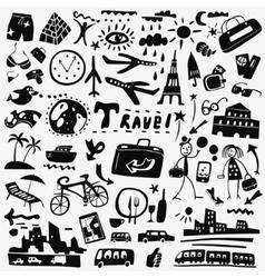 travel doodles set vector image vector image
