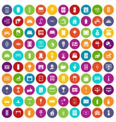 100 interior icons set color vector image