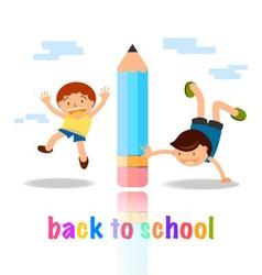 back to school cartoon concept vector image