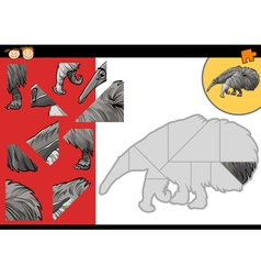 cartoon anteater jigsaw puzzle game vector image