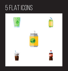 flat icon soda set of bottle cup carbonated and vector image