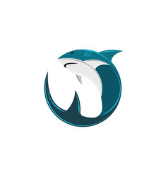 shark logo of the round form the abstract vector image
