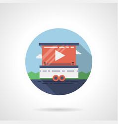 Street video screen flat round icon vector