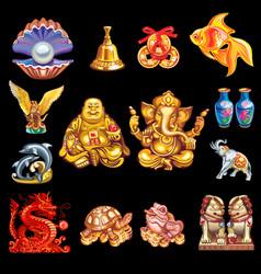 a set talismans that bring good luck vector image