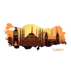 Abstract landscape of istanbul with the main vector