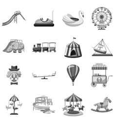 Amusement park icons set gray monochrome style vector image