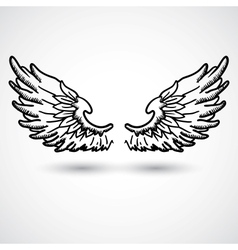 Angel wings Doodle style vector image